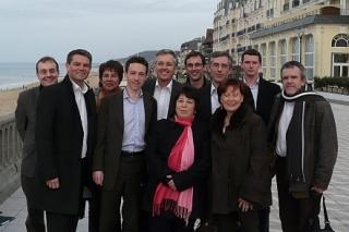 Corinne Lepage et l'équipe du MoDem Basse-Normandie