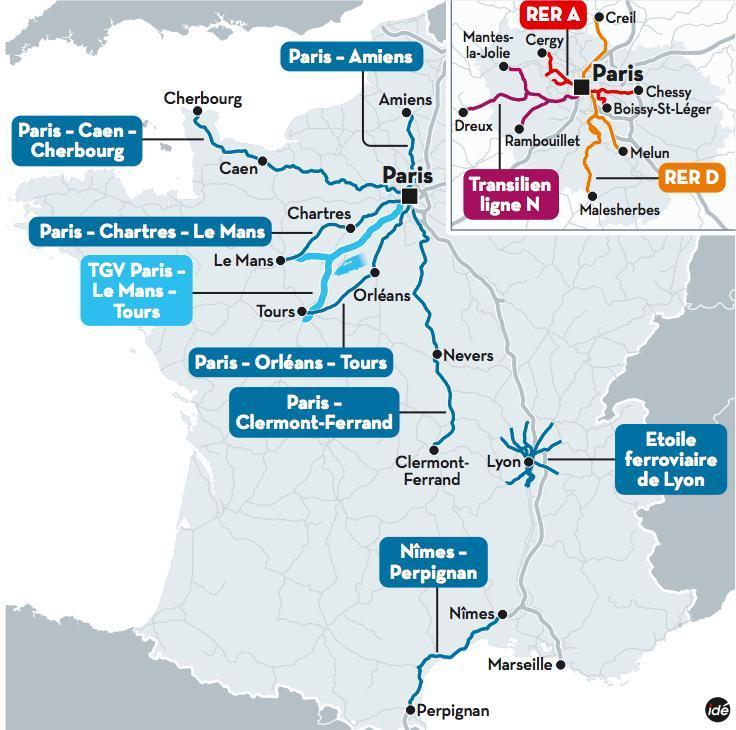 Plan des 12 lignes problématiques à la SNCF
